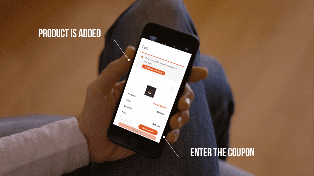 Adding your coupon is done on the checkout page